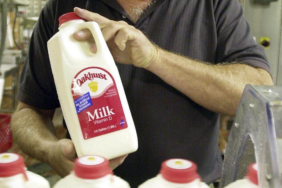 An Oakhurst Dairy milk bottle