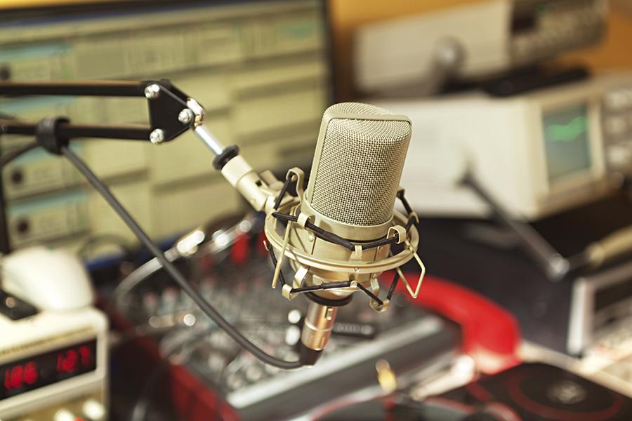 A radio broadcast studio