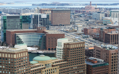 A view toward Boston's Seaport district from the Custom House observation deck.