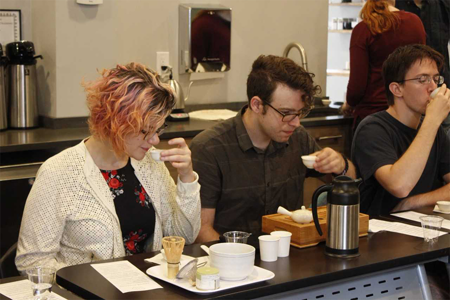 people tasting tea at a tea techniques brewing event at MEM