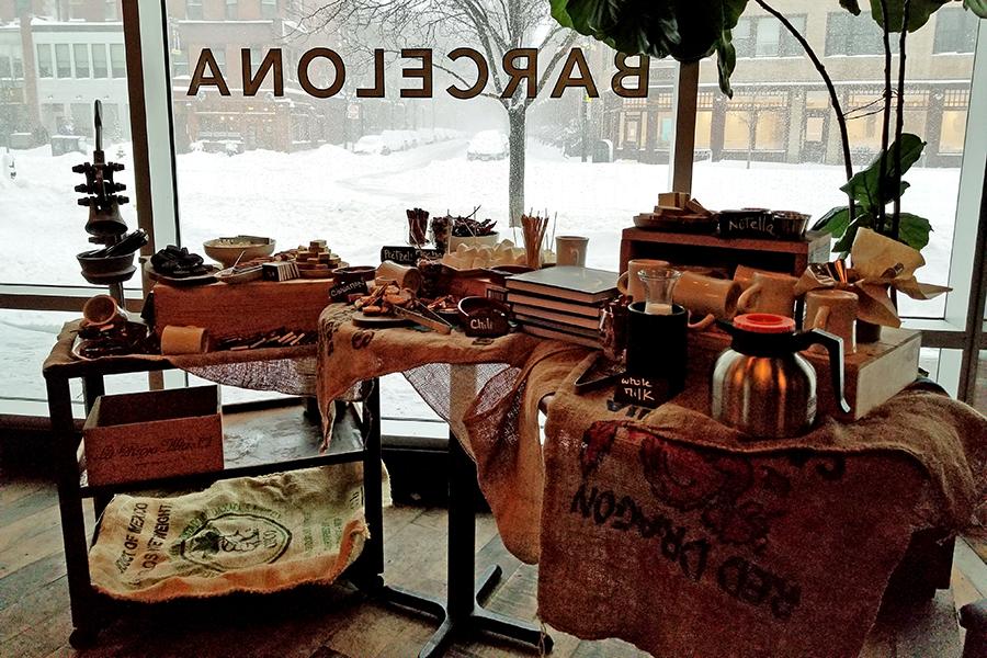 Barcelona Wine Bar's hot cocoa station