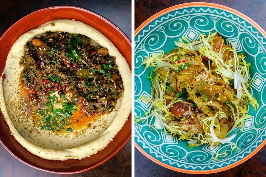 Sauteed beef hummus, salad at Humaari.