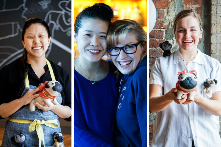 (L to R) Mei Mei chef Irene Li, Pagu chef Tracy Chang and Tanuki founder Rebekah Powers, SRV pastry chef Meghan Thompson