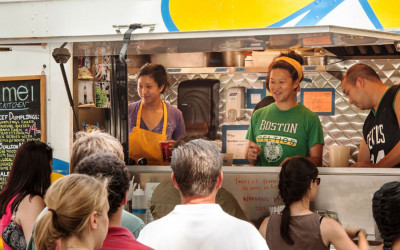 (L to R) Irene, Mei, and Andy Li serving from the Mei Mei food truck c. 2013.