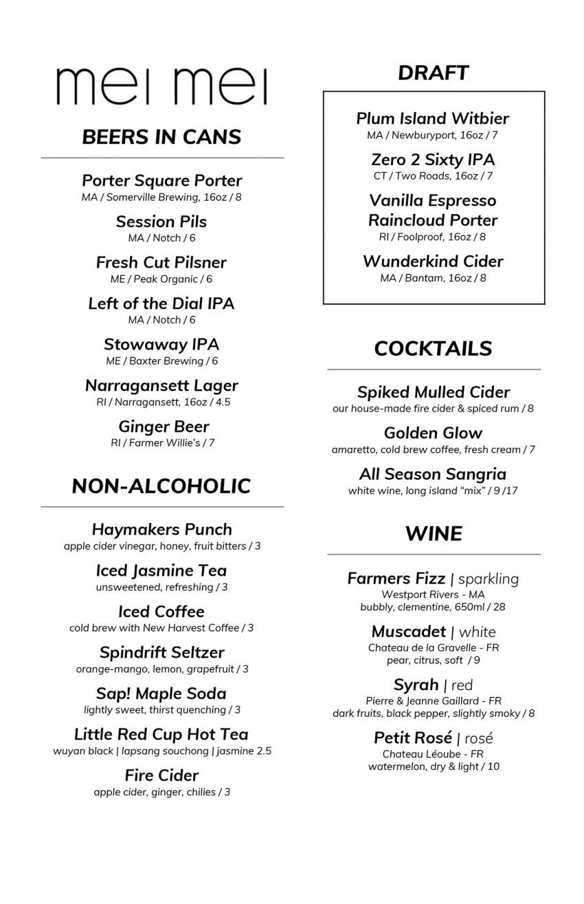 Mei Mei new drink menu