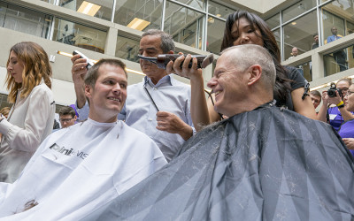 Tom Brady and Charlie Baker getting buzz-cuts