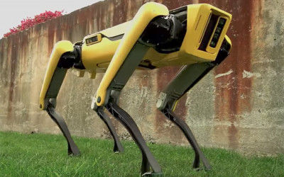The yellow SpotMini robot
