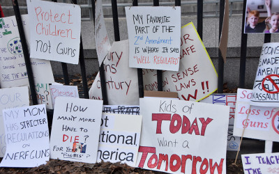 """Signs that say """"kids of today want a tomorrow"""" and other messages of gun reform"""
