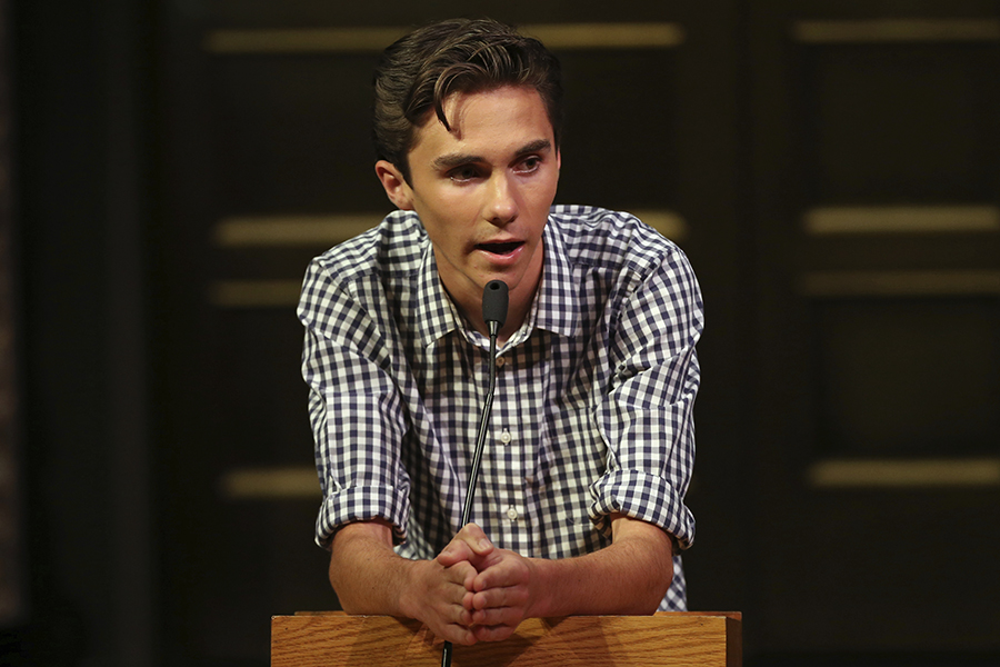 David Hogg, a student survivor from Marjory Stoneman Douglas High School in Parkland, Fla. addresses a community rally for common sense gun legislation at Temple B'nai Abraham Sunday, Feb. 25, 2018, in Livingston, N.J. Speakers include student survivors from Marjory Stoneman Douglas High School in Parkland, Fla., including Hogg, Ryan Deitsch and Matthew Deitsch.