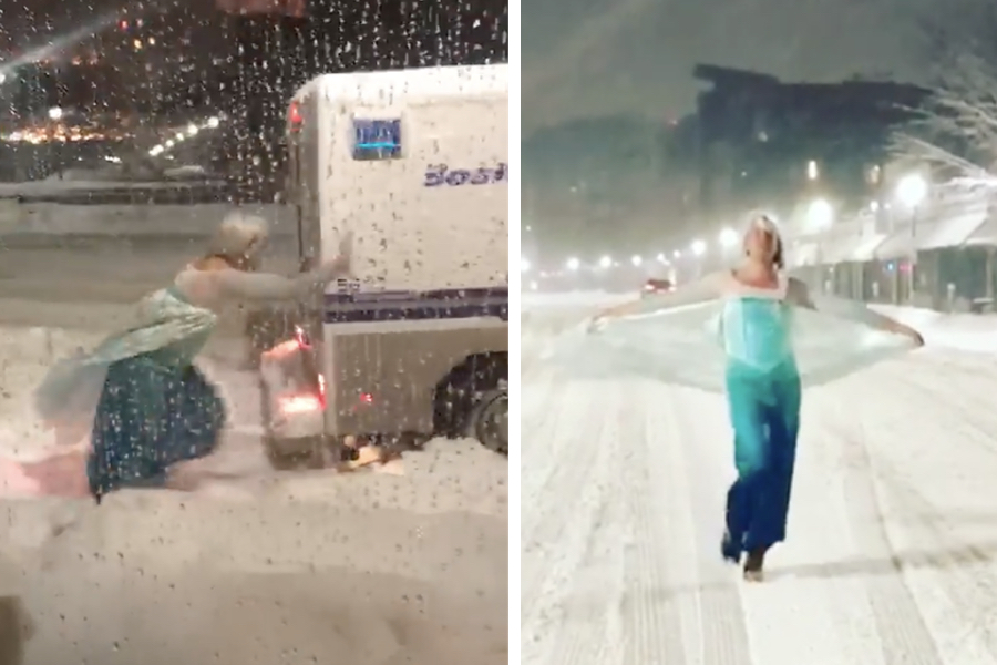 Drag Elsa Helped a Boston Cop in a Jam and Is a Winter Hero