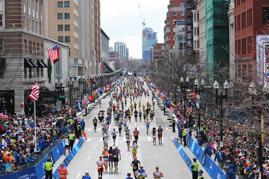 Runners at the Boston Marathon