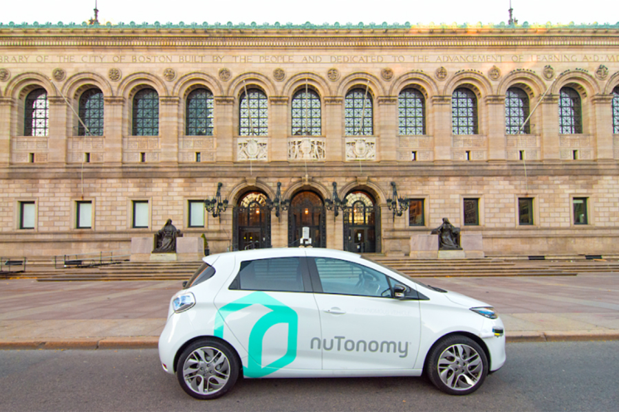 A nuTonomy car parked outside the central branch of the Boston Public Library