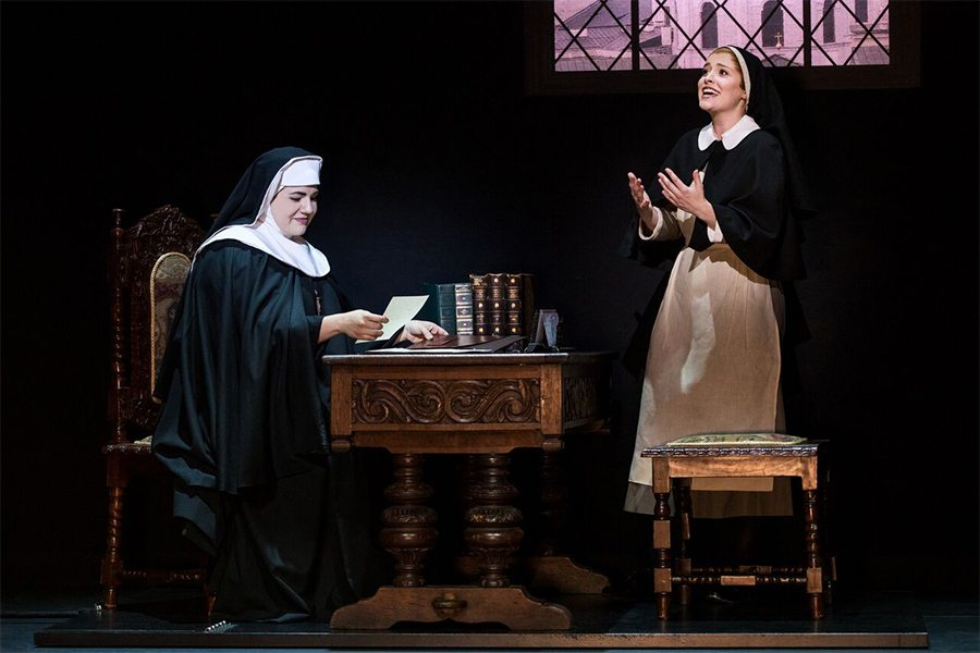 lauren kidwell and jill-christine wiley as mother abbess and maria, respectively