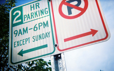 A two-hour parking sign
