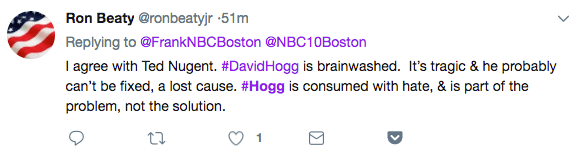 "Beaty's tweet that Hogg ""is consumed with hate"""