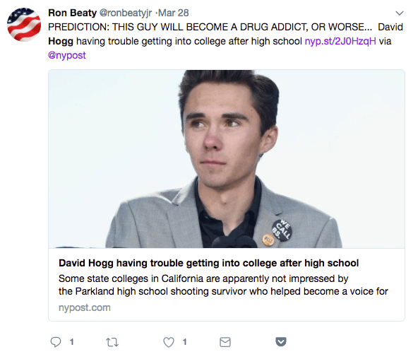 Ron Beaty's March 28 tweet criticizing David Hogg