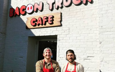 Sam Williams and J.J. Frosk outside the Bacon Truck Café in Charlestown
