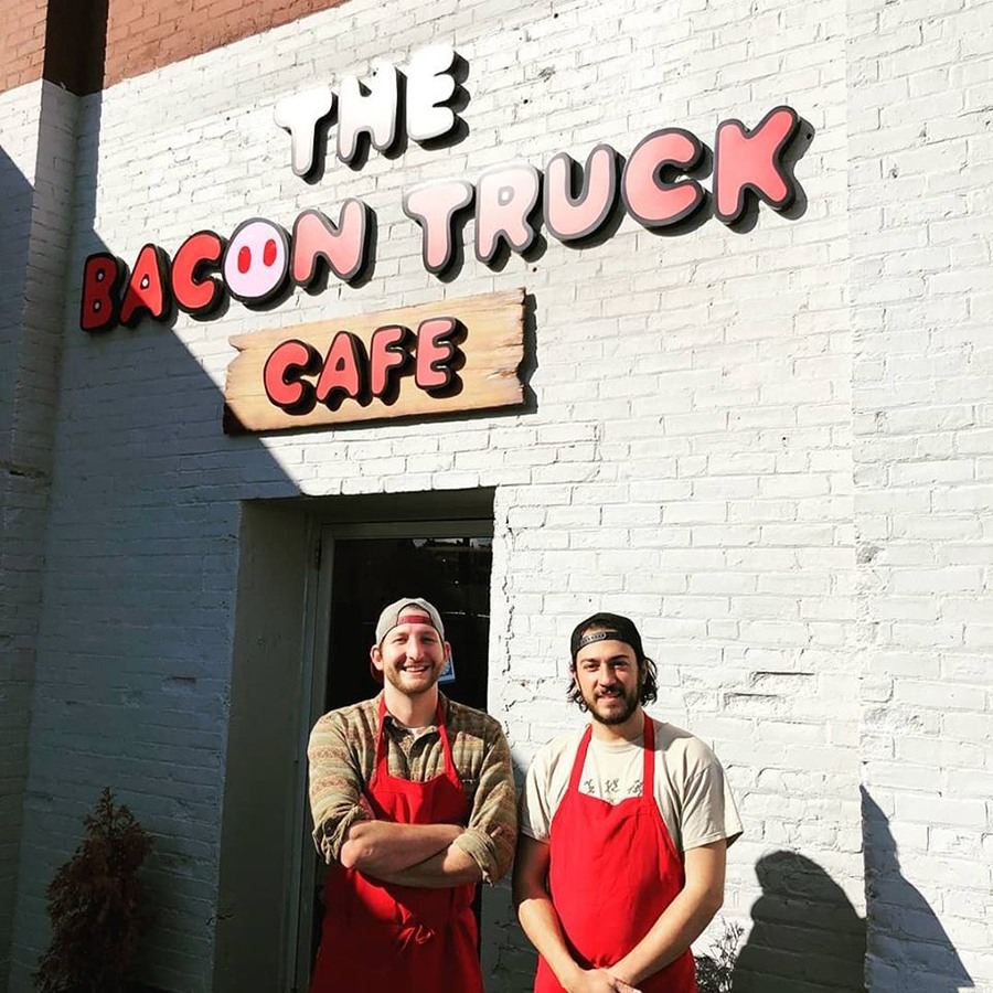 Sam Williams and JJ Trosk outside the Bacon Truck Café in Charlestown