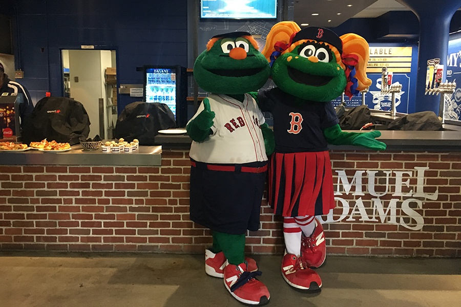 Red Sox mascots Wally and Tessie at the Sammy's on 3rd bar