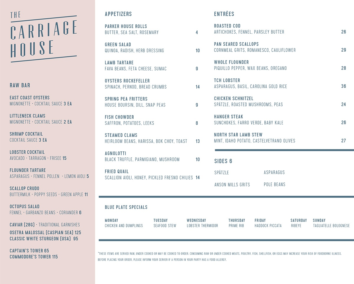 The Carriage House menu Rye