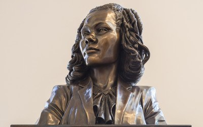 A bronze bust of Coretta Scott King