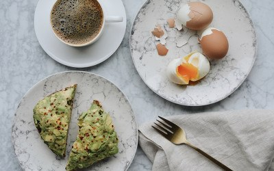 coffe, hard boiled egg, avocado toast