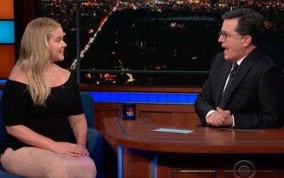 Amy Schumer and Stephen Colbert chat
