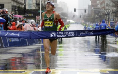 Yuki Kawauchi, of Japan, wins the 122nd Boston Marathon on Monday, April 16, 2018, in Boston. He is the first Japanese man to win the race since 1987. (AP Photo/Elise Amendola)