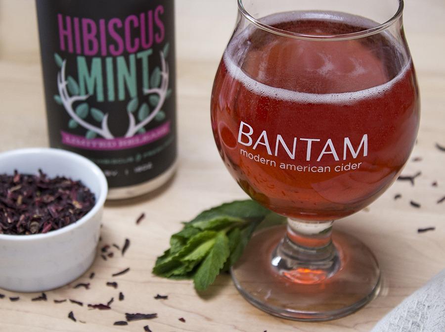 Bantam rose cider Hibiscus Mint cans
