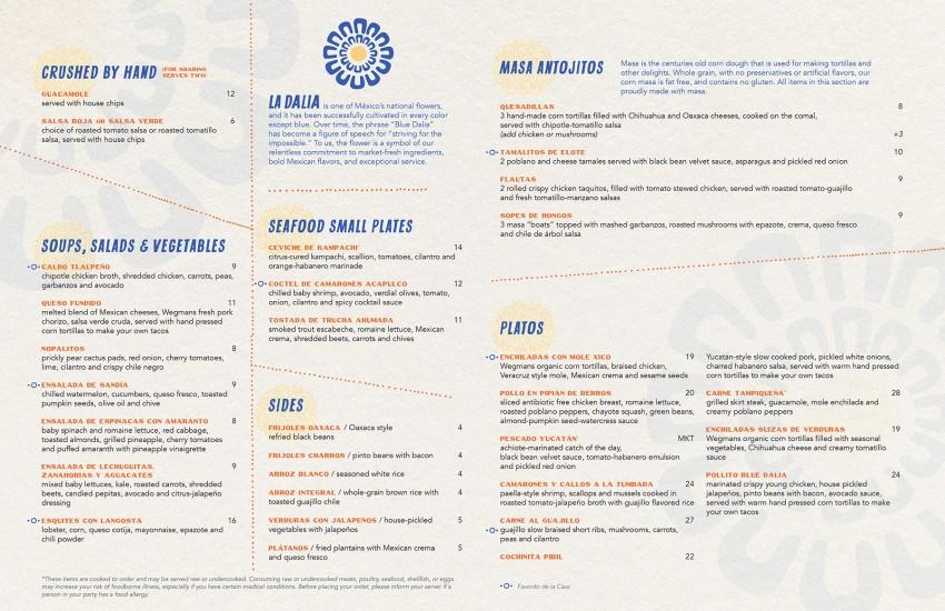 Blue Dalia Natick Wegmans menu