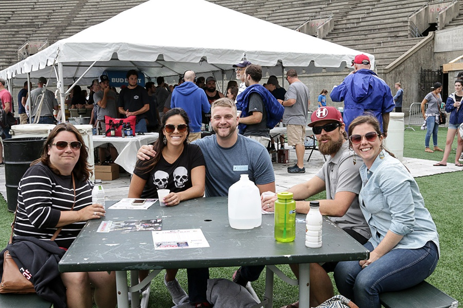 Boston Cannons lacrosse fans at the Harvard Stadium beer garden
