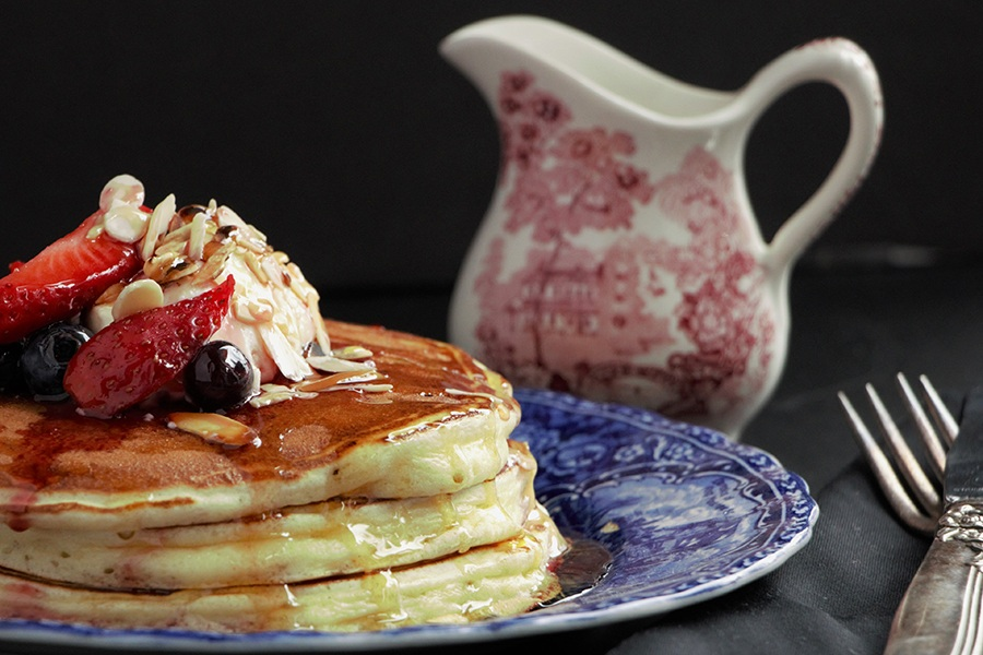 Greek yogurt pancakes at from Committee's brunch menu