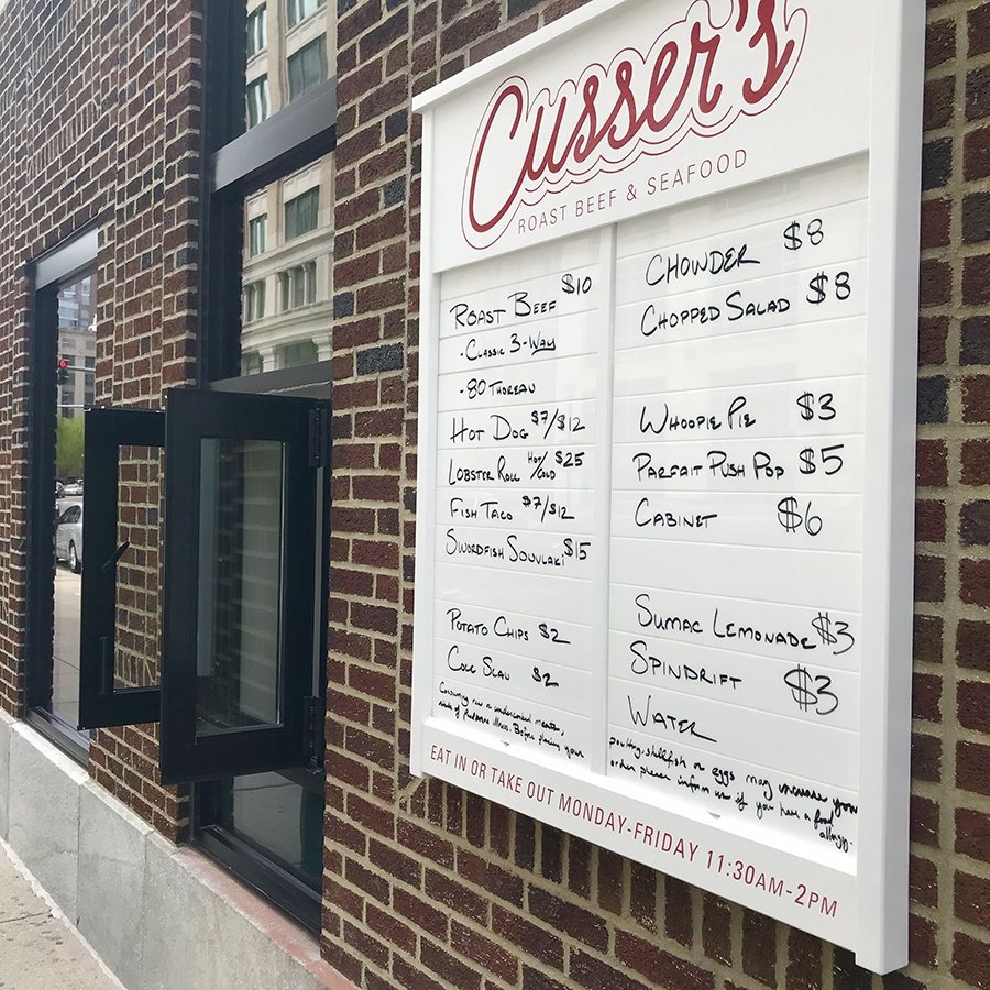 The Cusser's Seafood and Roast Beef takeout window is now open at 304 Stuart St. Boston