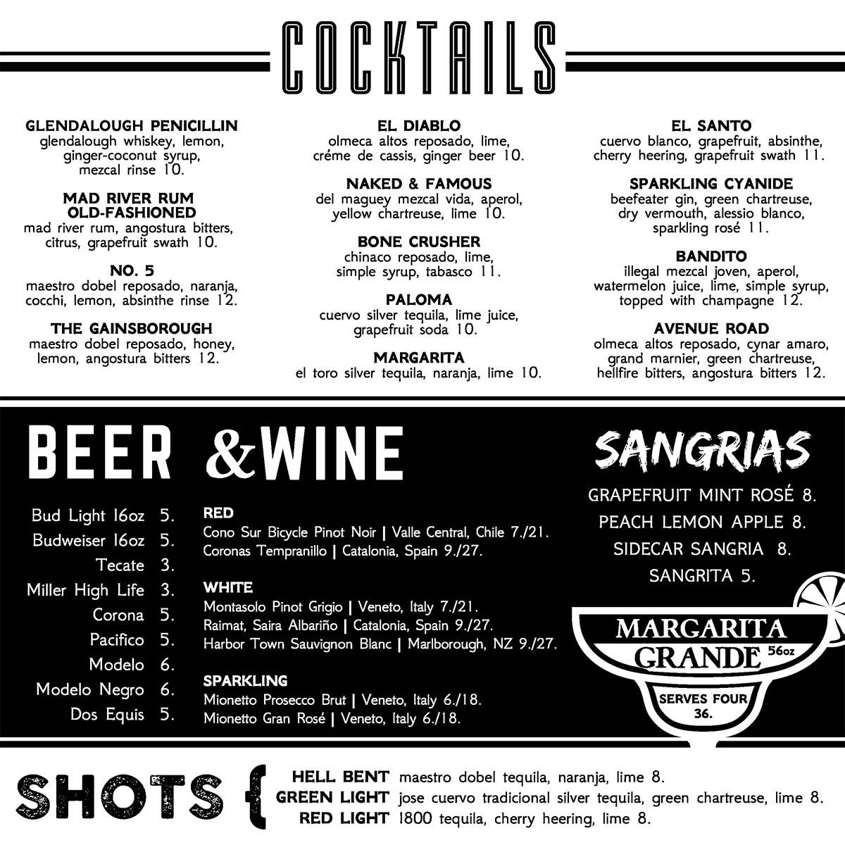 Dos Diablos drinks menu