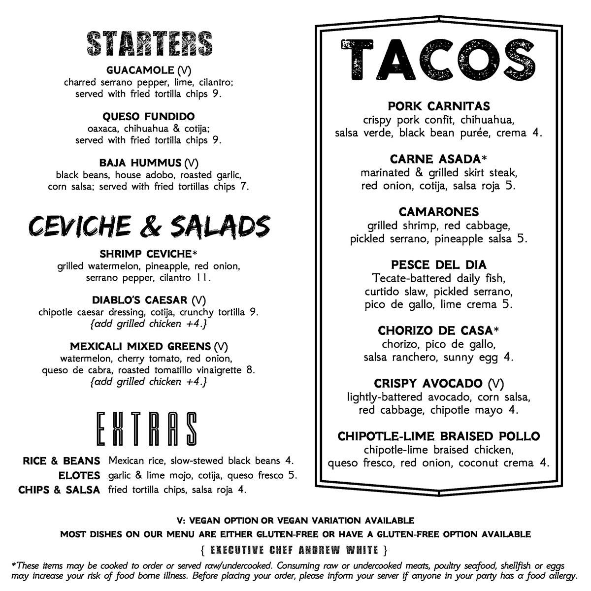 Dos Diablos food menu