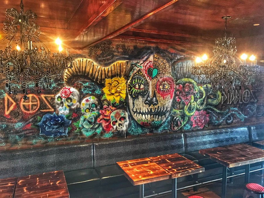 The mural at Dos Diablos taqueria