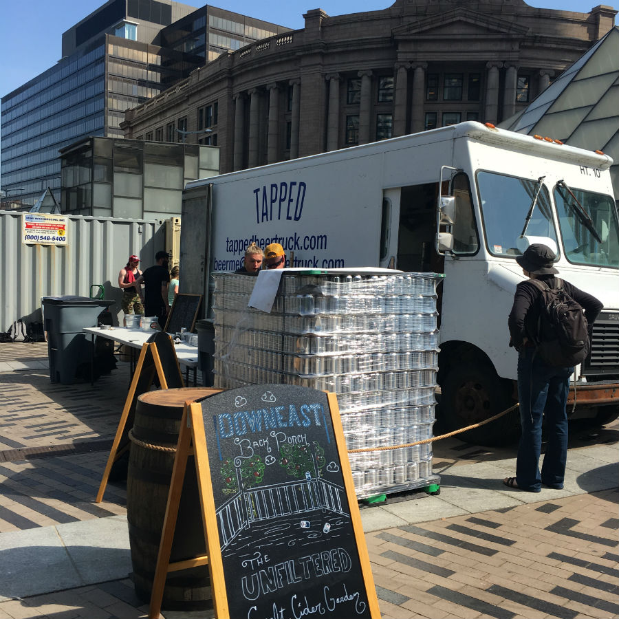 The Downeast Back Porch is a pop-up cider, beer, and wine bar at Dewey Square