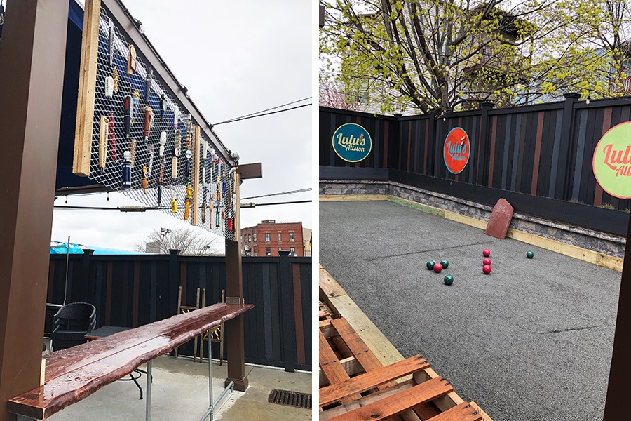 The patio at Lulu's Allston has new beer decor and a bocce court