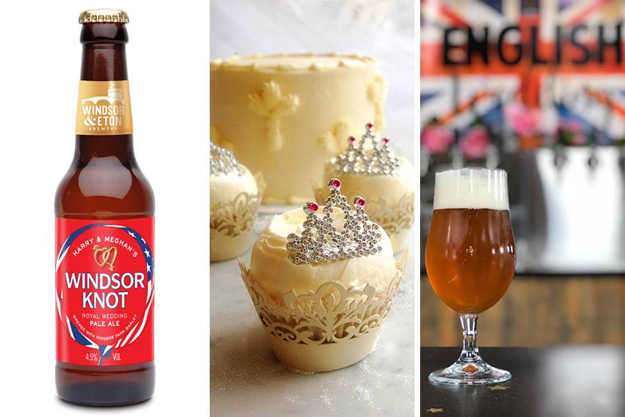 Windsor Knot Royal Wedding Pale Ale photo provided by Oak Long Bar / Lemon-elderflower cake photo provided by Magnolia Cupcakes / Royal Wedding English IPA photo provided by Somerville Brewing Co.