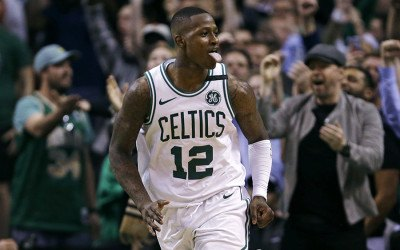 Boston Celtics guard Terry Rozier celebrates