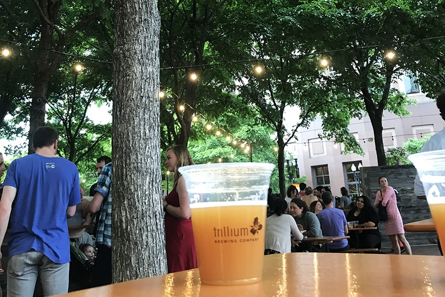 A beer in the shade at the Trillium Garden on the Greenway