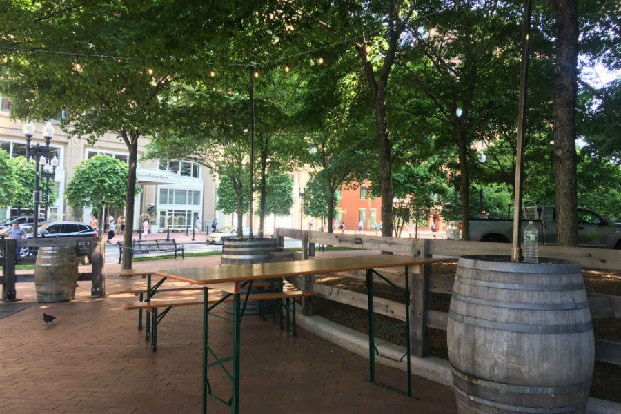 Looking toward Rowes Wharf from Trillium Garden on the Greenway