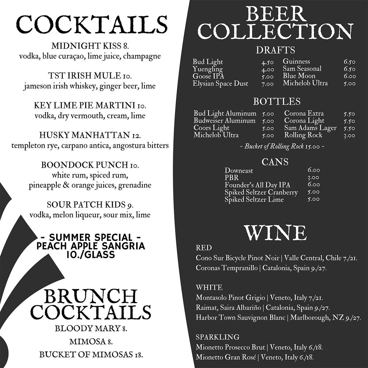 Two Saints Tavern drinks menu