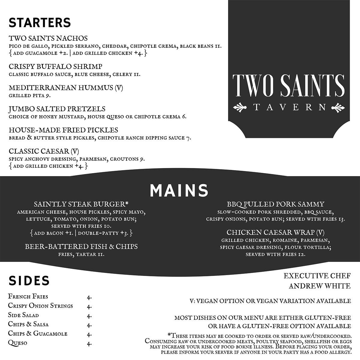 Two Saints Tavern food menu