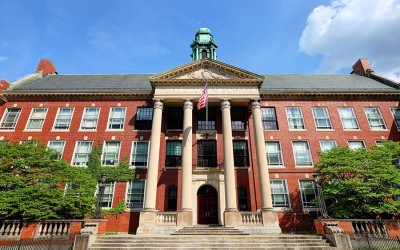 Boston, Massachusetts, USA - May 28, 2016: Daytime view of the oldest public school in America located in the Longwood Medical District