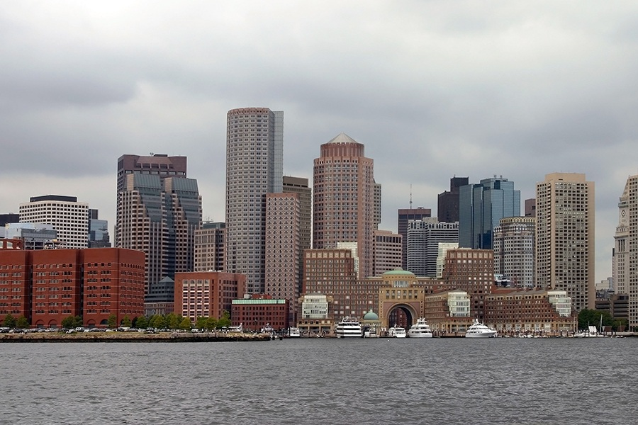 The Boston skyline on a cloudy day