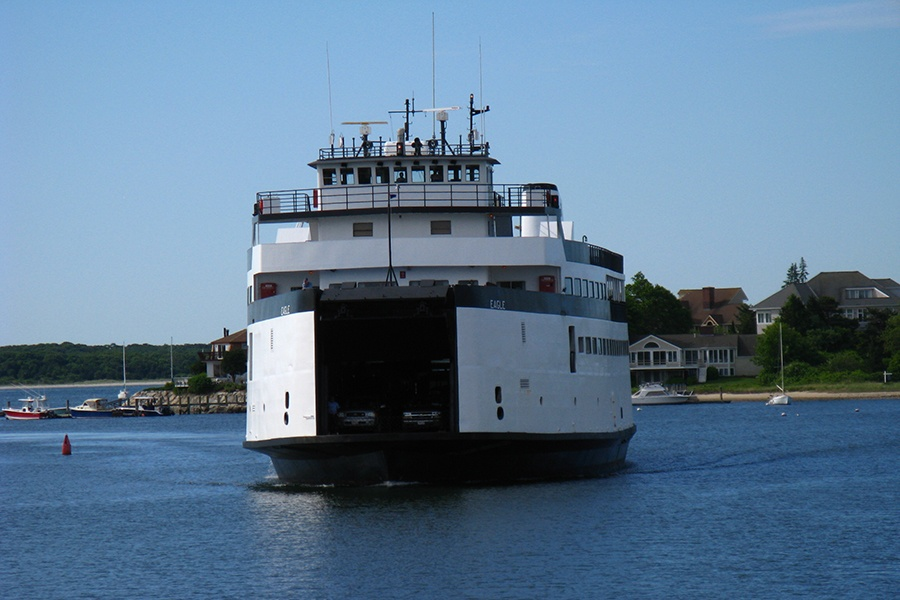 A ferry in the water