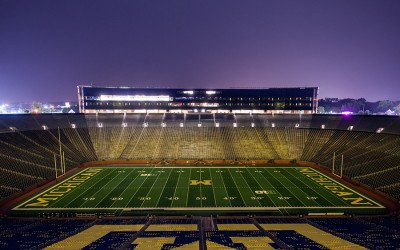 The University of Michigan football stadium at night
