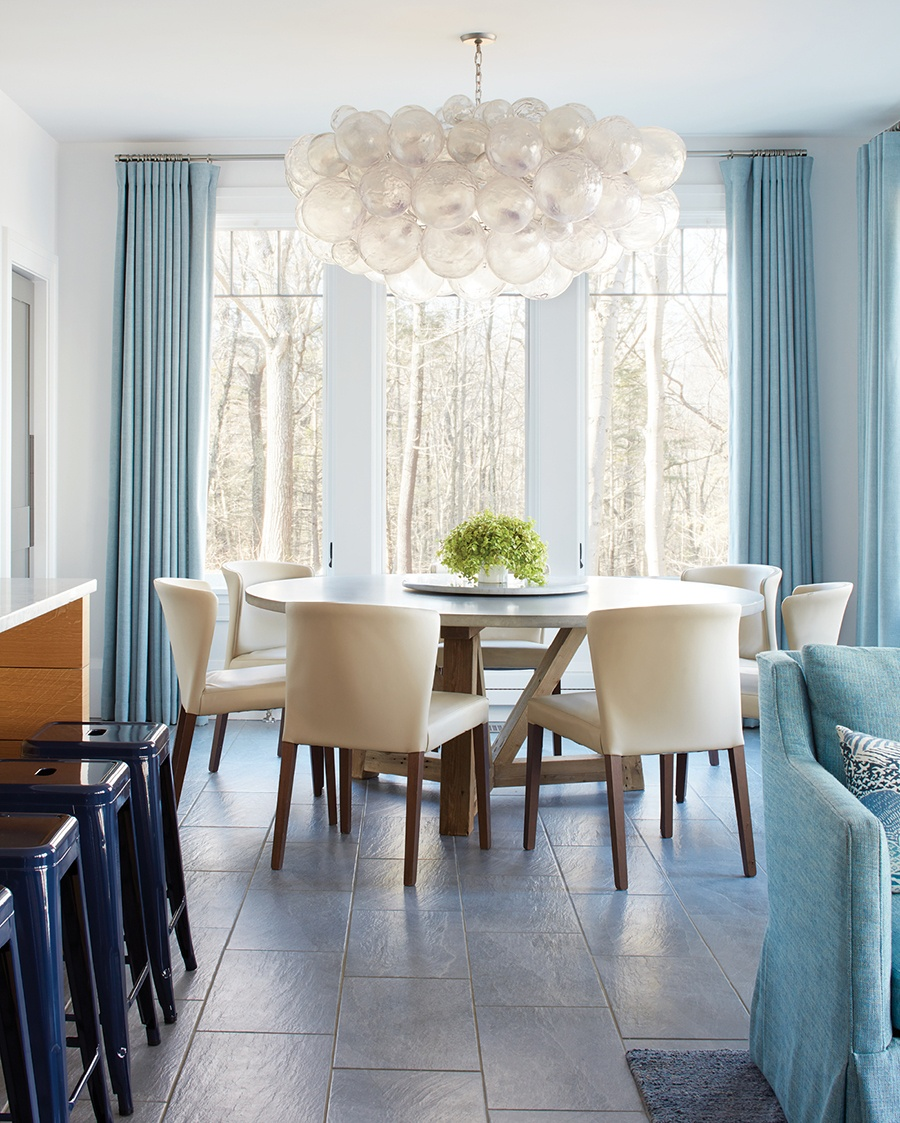 Room to roam boston magazine a muriel cloud chandelier from oly studio brightens the kitchen photograph by jared kuzia arubaitofo Choice Image