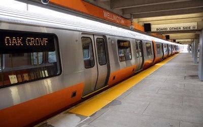 A new Orange Line train headed toward Oak Grove